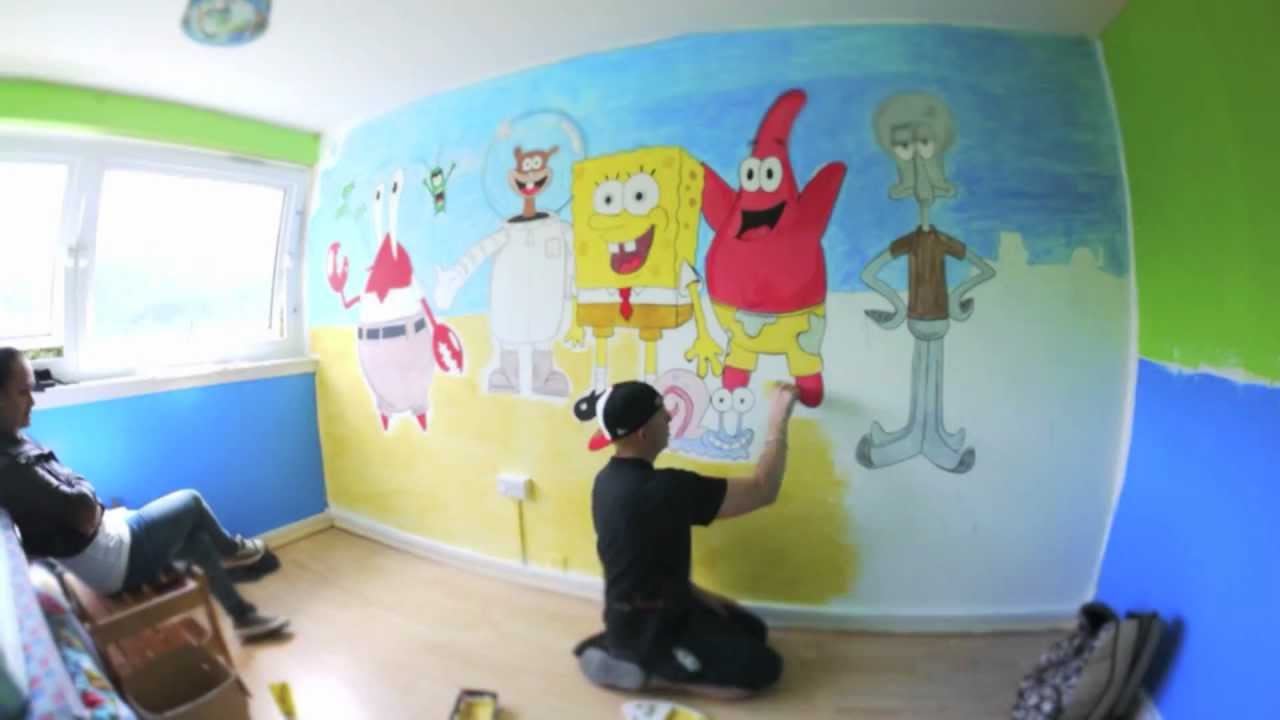Spongebob squarepants time lapse bedroom art by david for Cost of a mural