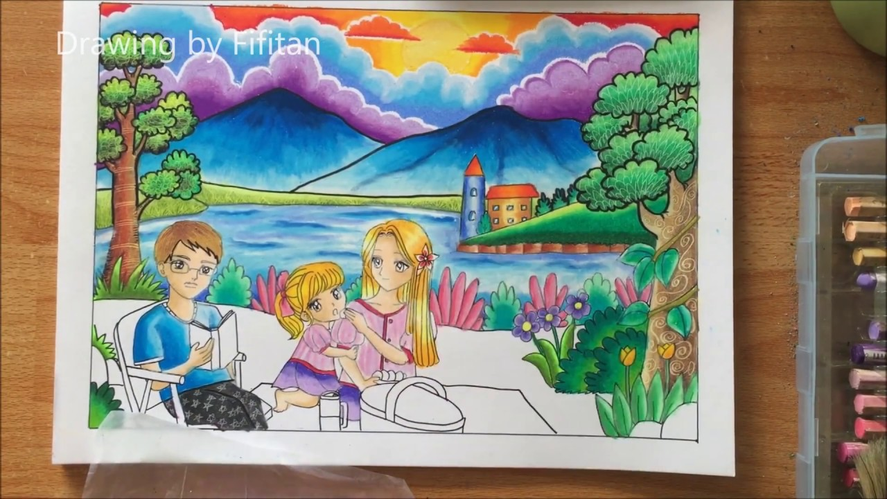 Cara gradasi warna oil pastel  drawing family recreation