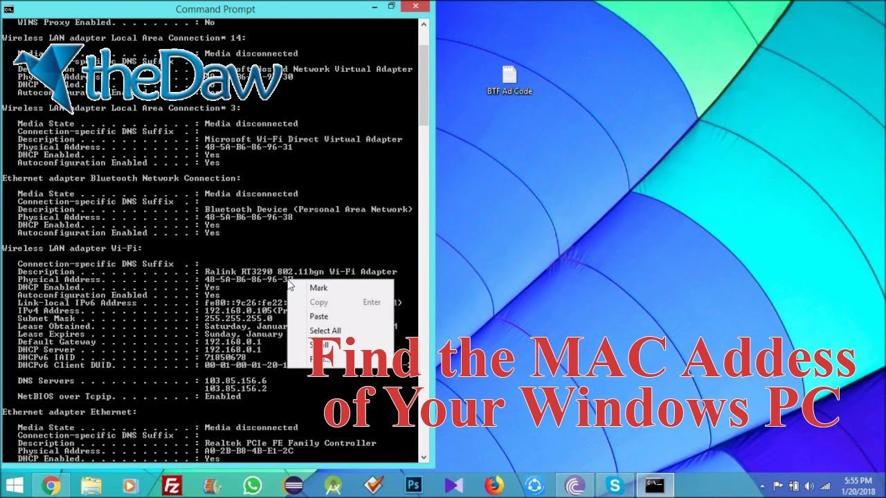 How to Find MAC Address of Your Windows PC | Windows Tutorial | theDaw