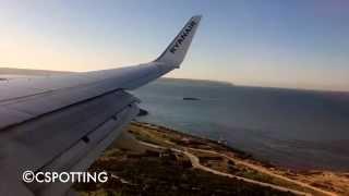 Morning approach and hard landing at Palma de Mallorca Airport | Ryanair Boeing 737-800 EI-EBC