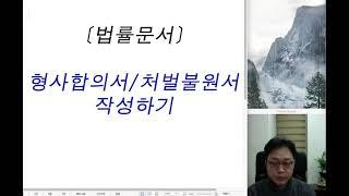 [법률문서작성법] 형사합의서/처벌불원서