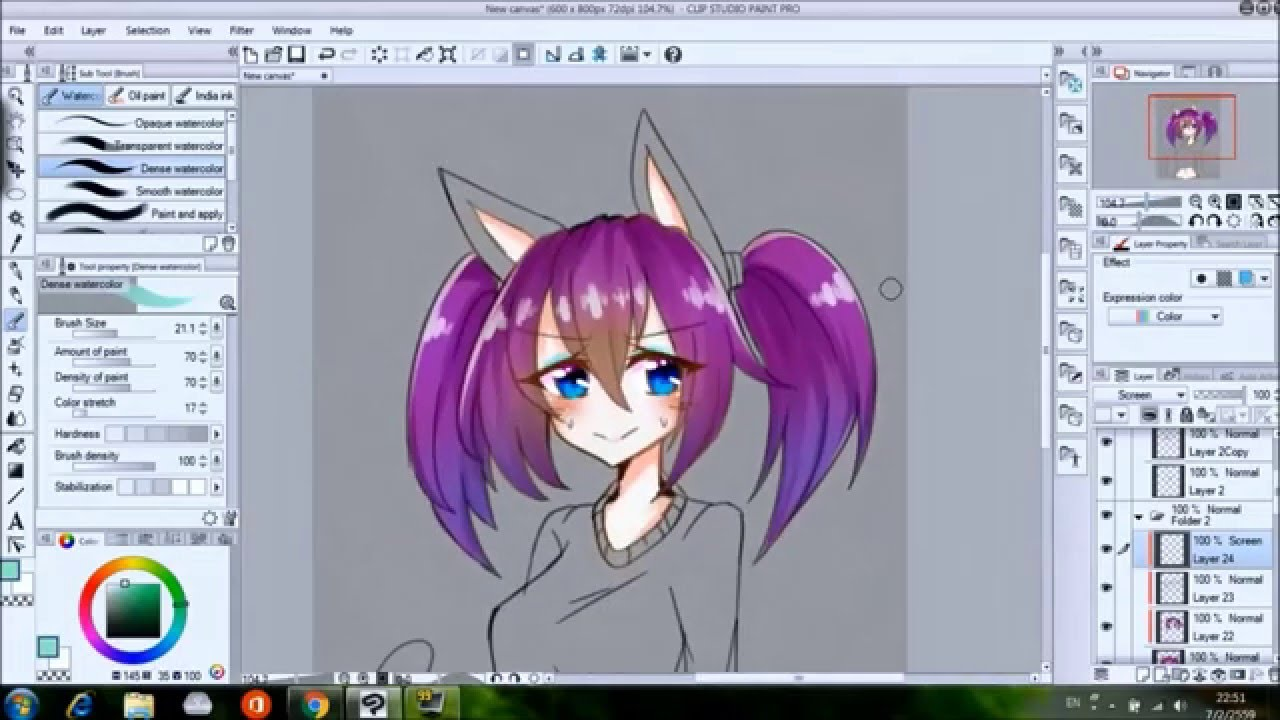 Speed paint[Clip studio paint]: Barbella color hair. - YouTube