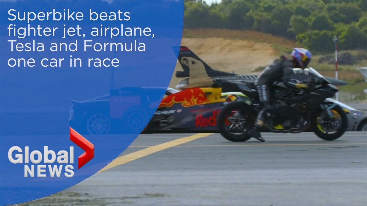 Superbike Wins Race Against Fighter Jet Aircraft Tesla And Formula