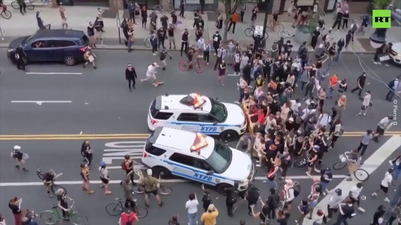 Black Lives Matter rally | NYPD police cruisers run into crowds