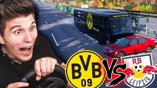 Der BVB fährt zu RB Leipzig! Alle Fußballer MECKERN! ✪ Fernbus Simulator mit Lenkrad