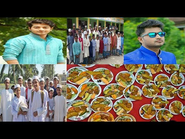 Cheyya hero Bappi Chowdhury is giving his iftar to madrassa students in his hand