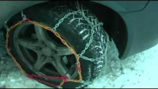 Установка цепей противоскольжения на колеса
