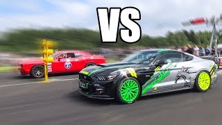 Dodge Charger SRT Hellcat vs Ford Mustang GT -DRAG RACE!