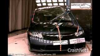 Honda Civic | 2011 | Pole Crash Test | High Speed Camera | NHTSA Full Length Test