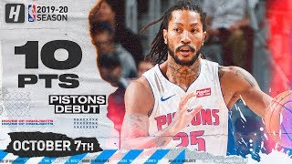 Derrick Rose SICK Pistons Debut Highlights vs Orlando Magic | October 7, 2019