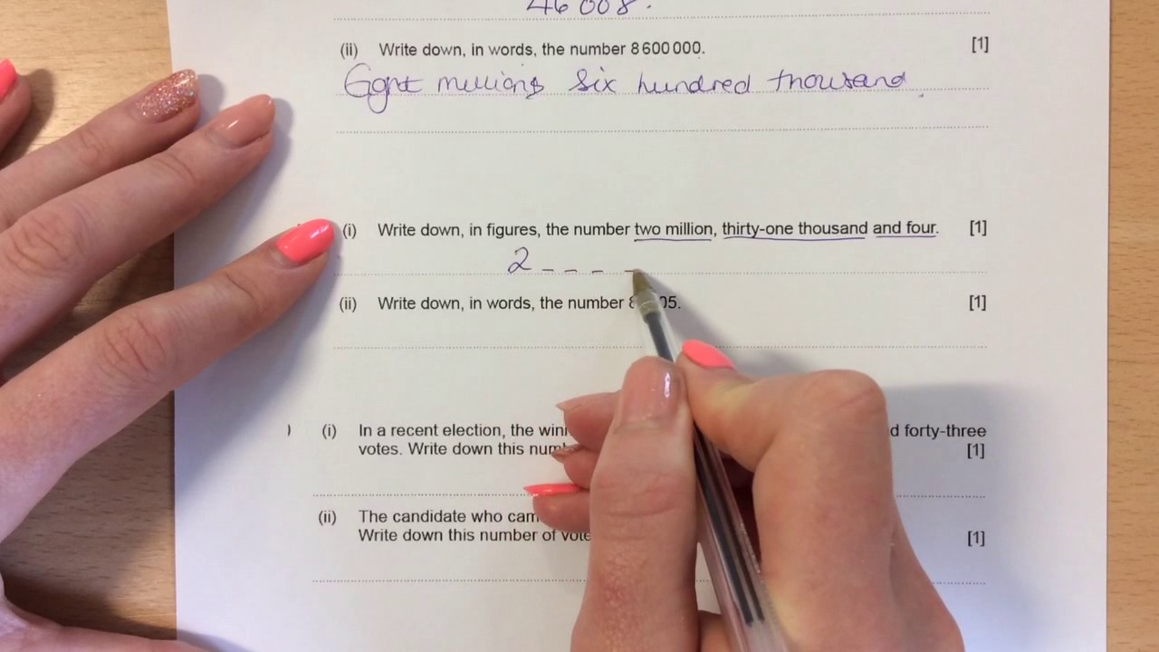 How to write down numbers