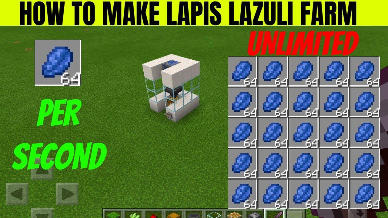 How To Make Lapis Lazuli Farm In Minecraft Lapis Lazuli Generator Tutorial Phantasm Gaming Pe Youtube