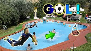 INCREDIBILI TIRI Di CALCIO in PISCINA *impossibile*
