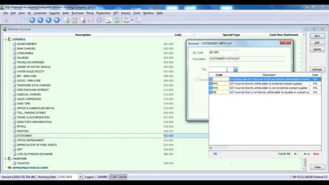 syntax technologies sql gst v04 gst tax code in chart of account