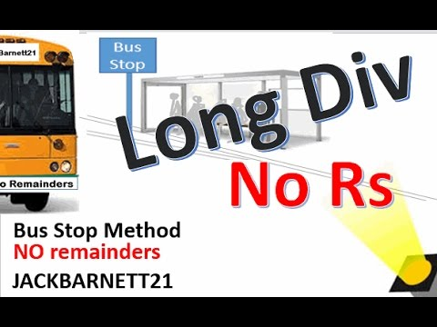 how to do the bus stop method with a remainders
