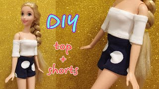 Barbie Rapunzel clothes | DIY for dolls - TOP and SHORTS #barbie #doll #clothes