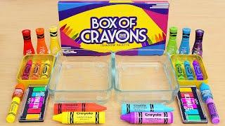 Mixing Rainbow Crayon Makeup and Eyeshadow Into Slime ASMR