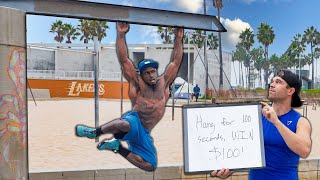 Hang For 100 Seconds, Win $100 vs. Bodybuilders on Muscle Beach
