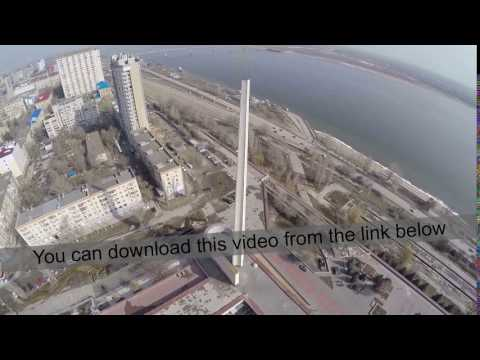 Flying over city waterfront in Volgograd, Russia