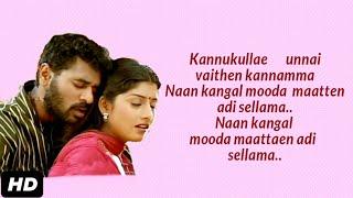 Kannukulle unnai vaithen kannamma song Lyrics | pennin manathai thottu | Lyric song | FULL HD