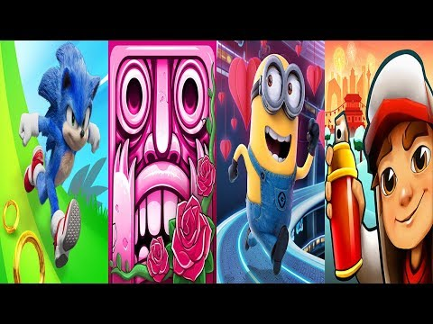 Sonic Dash BABY SONIC VS Temple Run 2 Valentine VS Minion Rush VS Subway Surfers