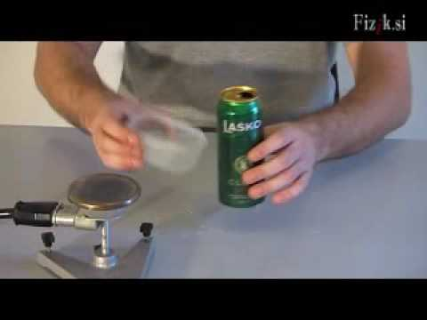 Beer can destroyed by air pressure - science experiment