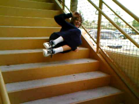 just a kid falling down a fleet of stairs