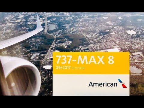 American Airlines Boeing 737 MAX 8 Pushback, Startup, And Takeoff From Tampa International Airport