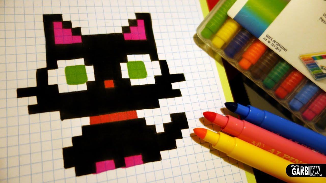 Handmade Pixel Art How To Draw A Kawaii Black Kitty Pixelart