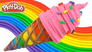Play-Doh How to Make a Rainbow Waffle Cone with Pink Ice Cream * Creative Fun RainbowLearning