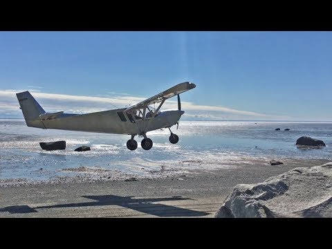 Landing and take-off from Alaska beach