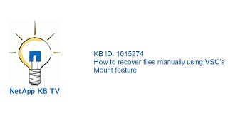 How to recover files manually using VSC's Mount feature