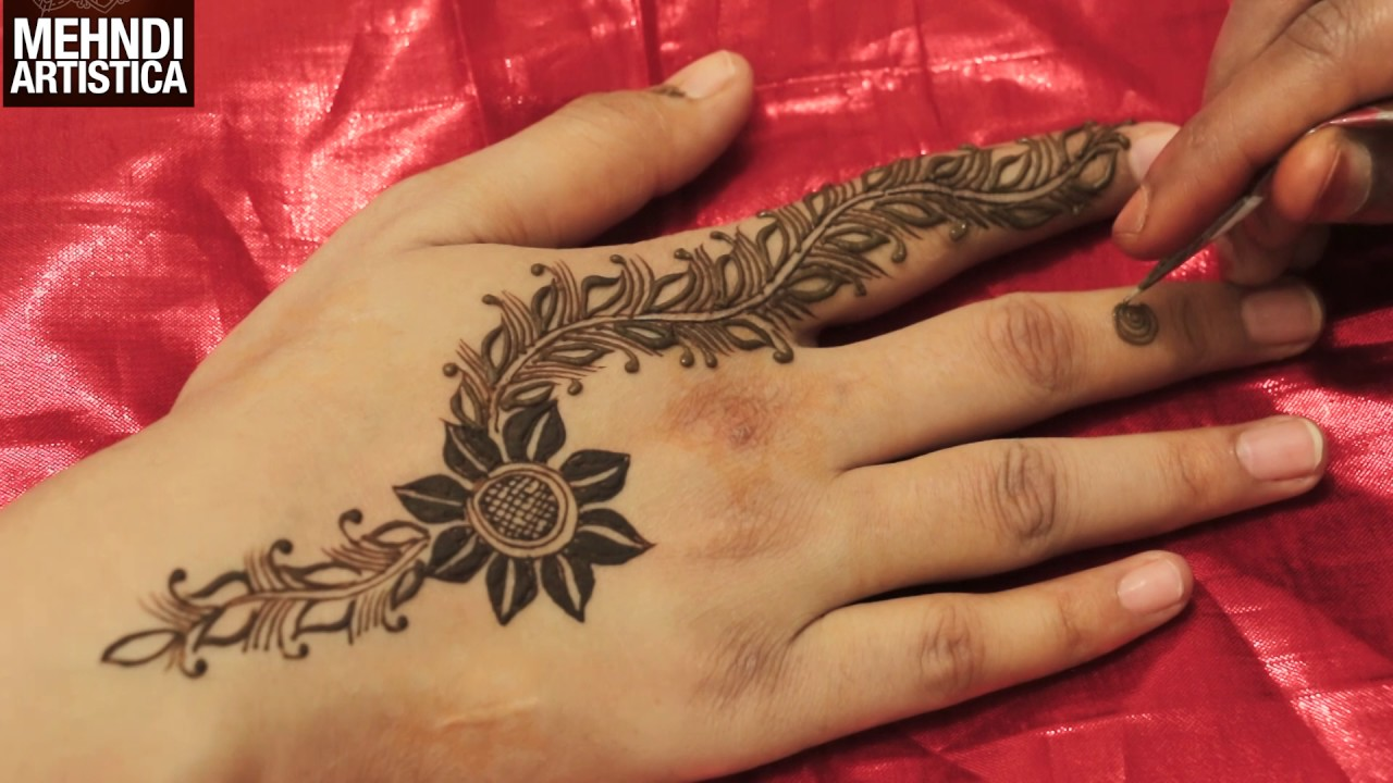 Easy Dip Flower Henna Leaf Floral Gulf Mehndi Art Step By Step For