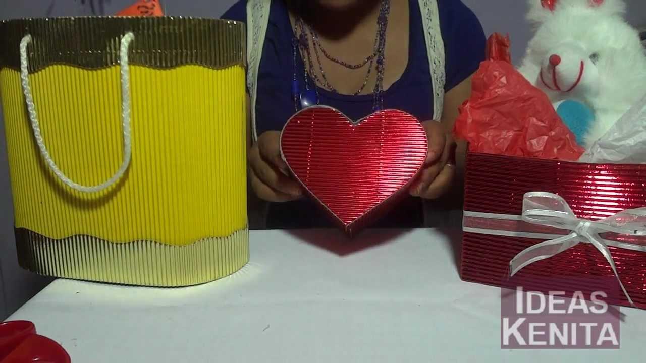 Caja para regalos de papel corrugado paso a paso youtube - Papel de regalo transparente ...