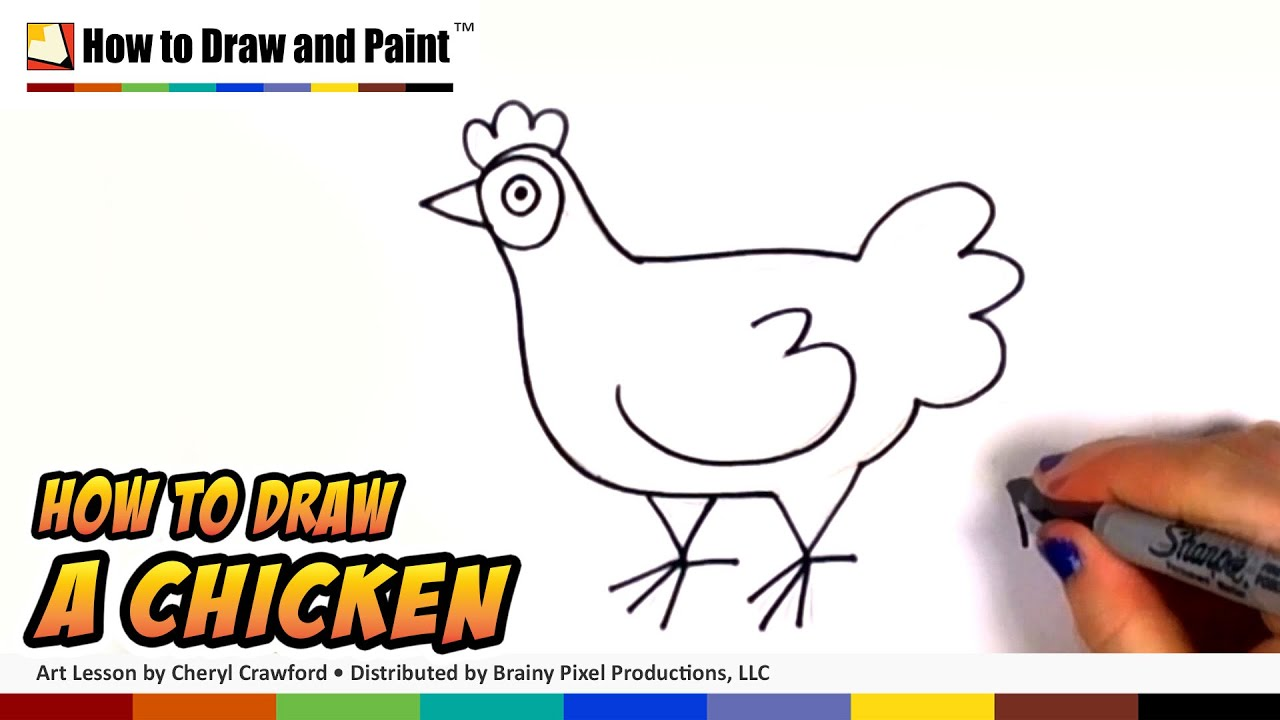 how to draw a chicken step by step art for kids draw a cute hen easy cc youtube