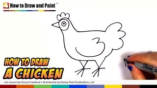 How to Draw a Chicken Step by Step - Art for Kids - Draw a Cute Hen Easy CC