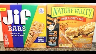 Jif Crunchy Peanut Butter Bars Vs Nature Valley Sweet & Salty Peanut Bars