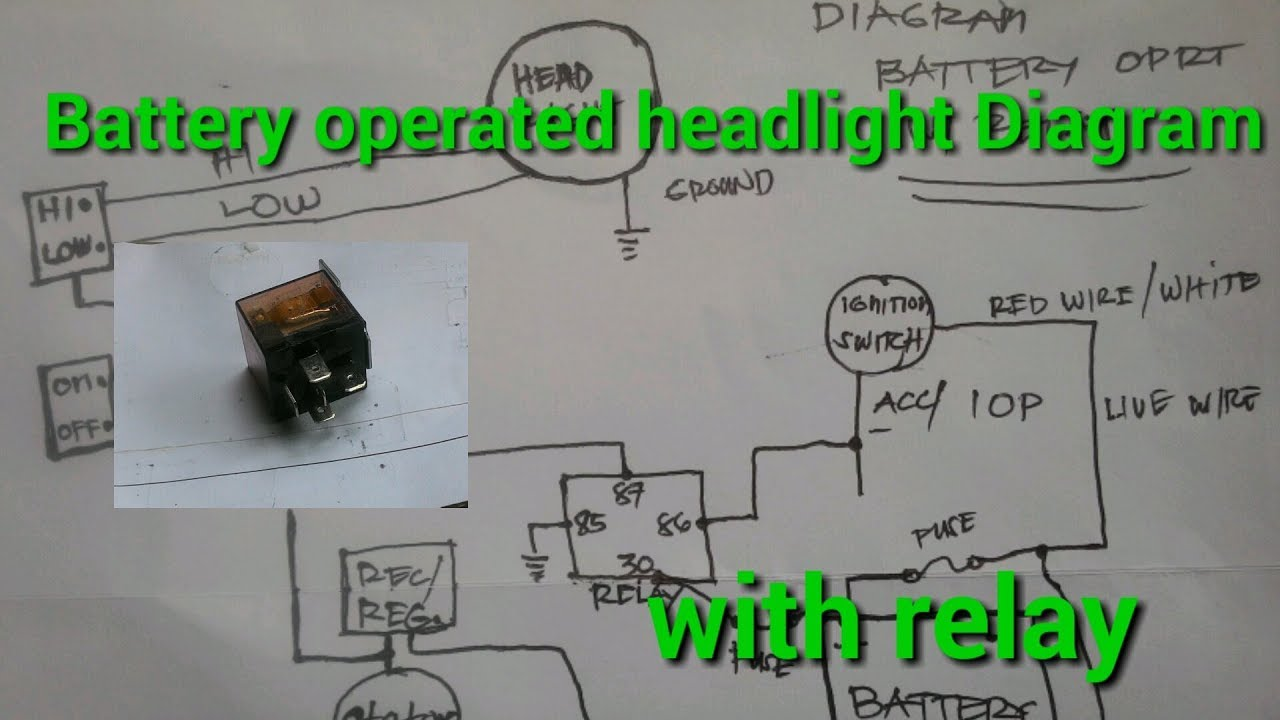 battery operated headlight diagram with relay [ 1280 x 720 Pixel ]