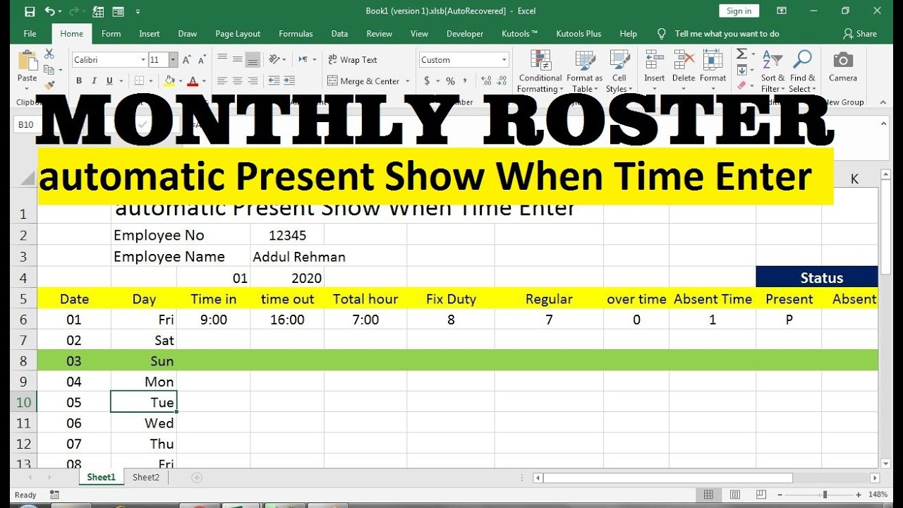 Monthly Employee Duty Roster Format Excel Youtube