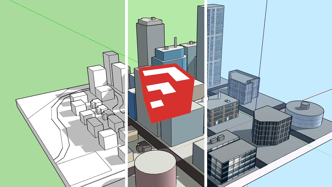 Sketchup city building basic tips tutorial youtube for Sketchup building