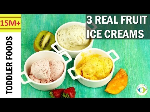 3 Colorful Real Fruit Ice Creams | 2+1 Ingredients | Natural & Homemade Ice Creams
