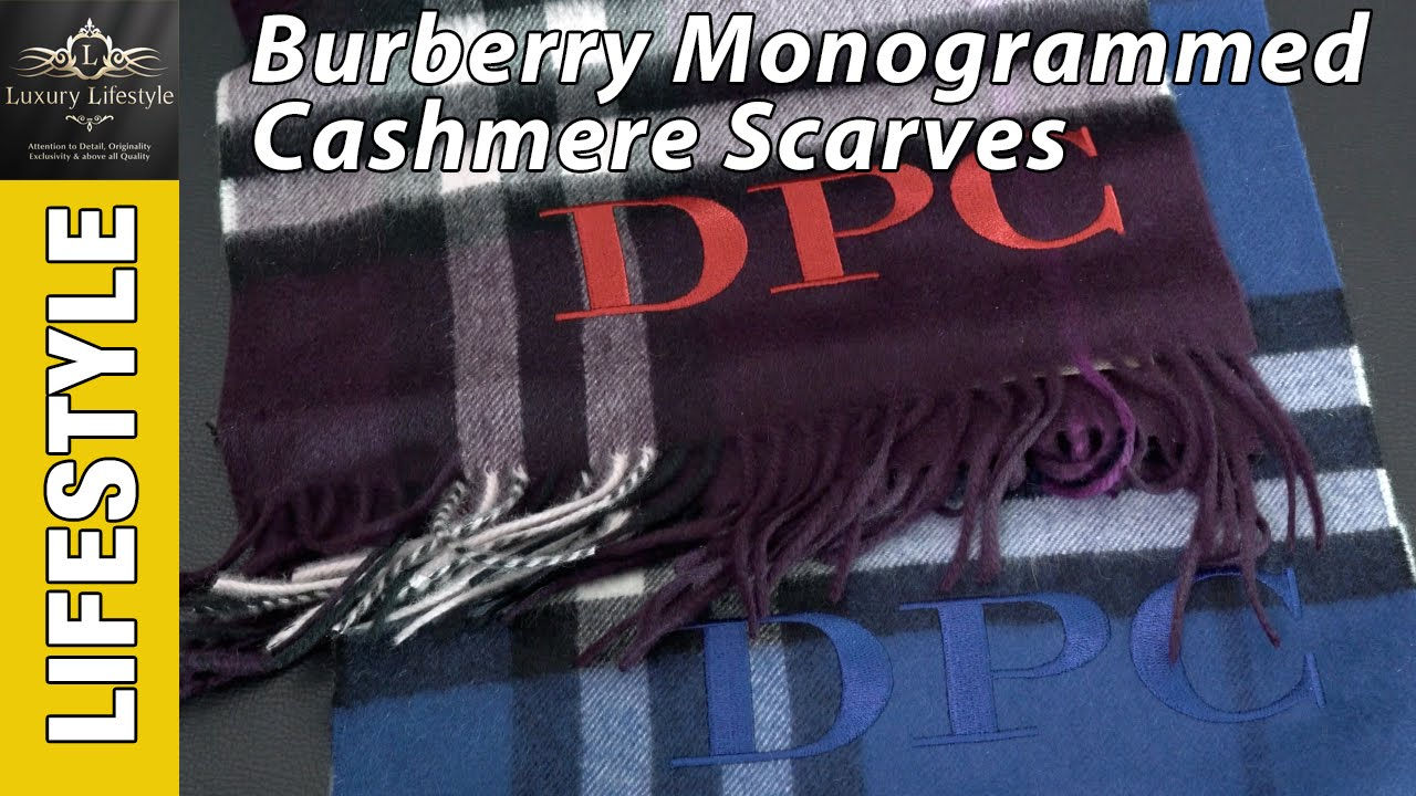 df3ea18b6817 Burberry Cashmere Monogrammed Scarves • Luxury Lifestyle Channel  Burberry
