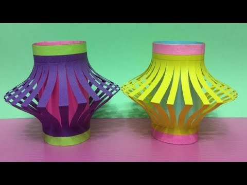 How to make a paper Lantern at home # Easy Paper Lantern # Paper craft paper lantern !!! High