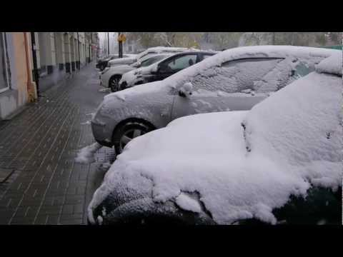 The Unexpected Snowfall in Warsaw Poland 27.10.2012