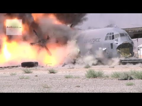 Blowing Off C-130 Aircraft's Wings With Explosives