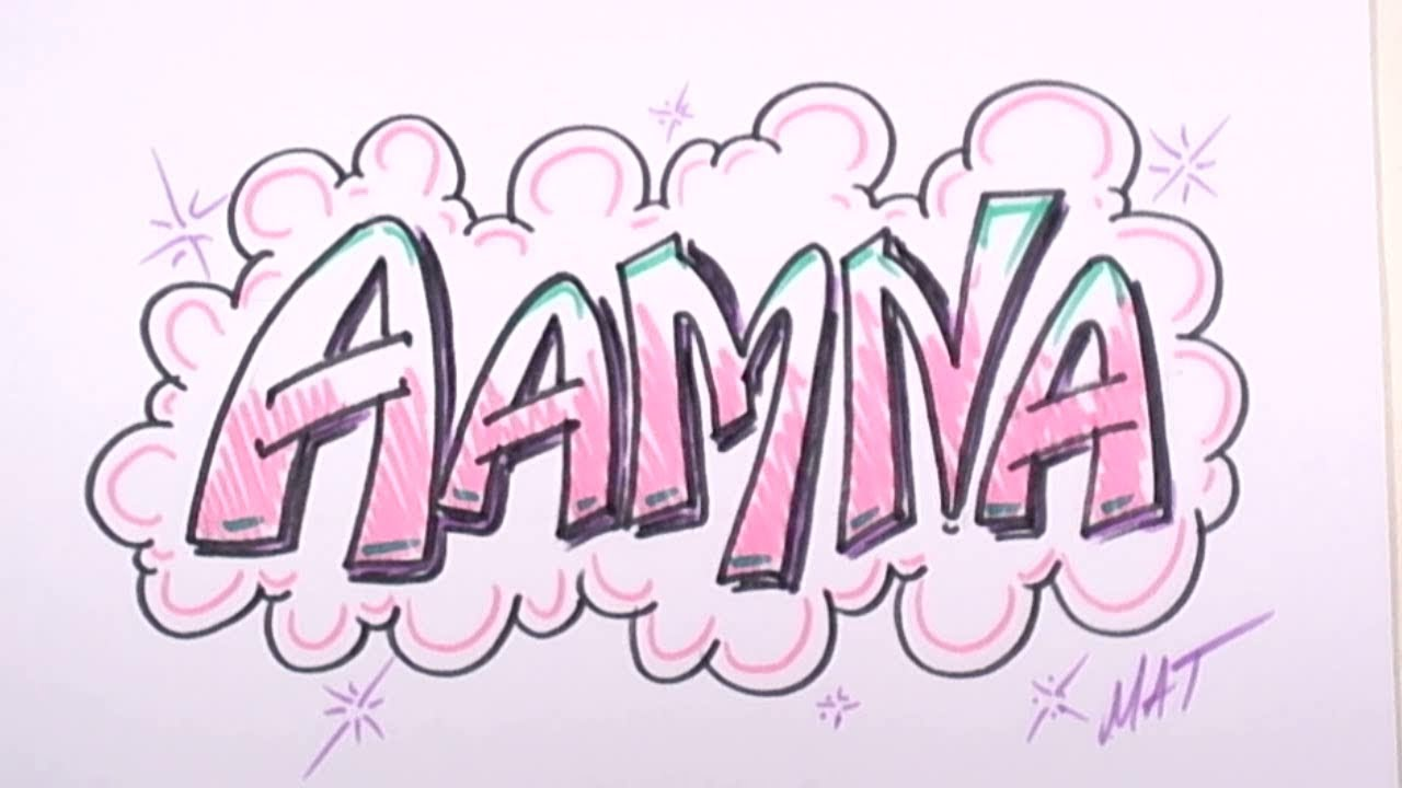 graffiti writing aamna name design 32 in 50 names promotion mat