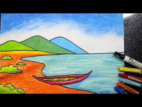 cara menggambar pemandangan pantai mudah YouTube