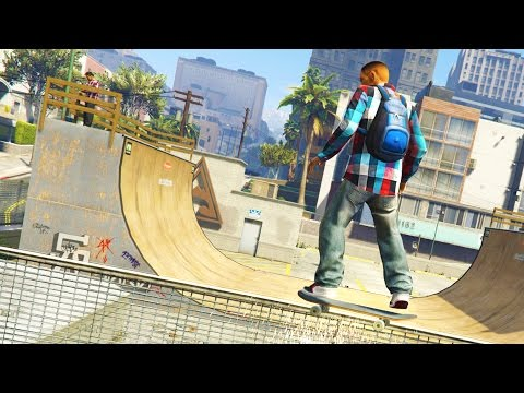 GTA 5 Mods - SKATEBOARDING MOD! GTA 5 Skateboarding Mod Gameplay! (GTA 5 Mods Gameplay)