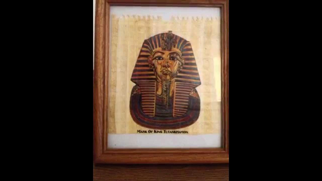 V Rare Egyptian King Tut Handmade Art Painting on Ancient Papyrus ...