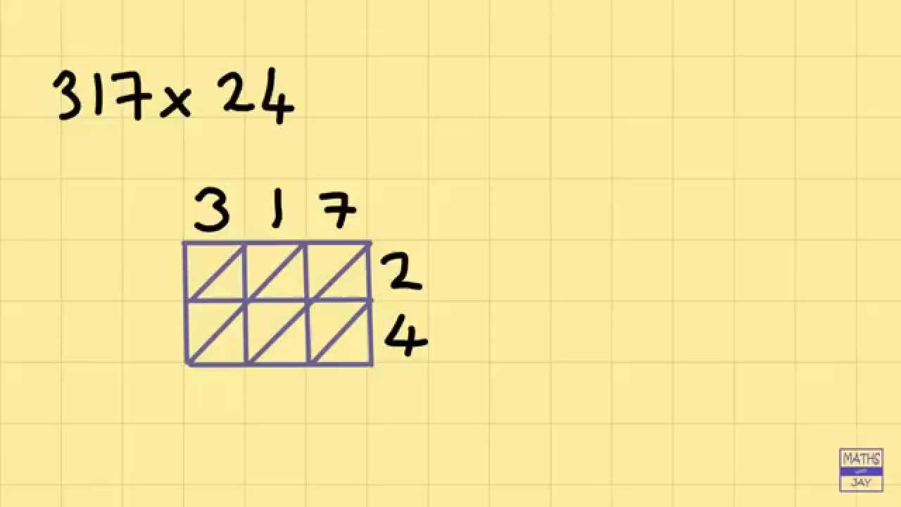 medium resolution of Lattice Multiplication Intro: 3 digits times 2 digits - YouTube